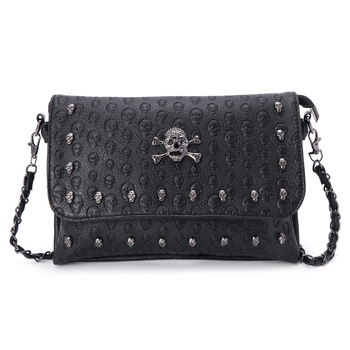 Women Handbag Rivet Gothic Skull Chain Shoulder Bag