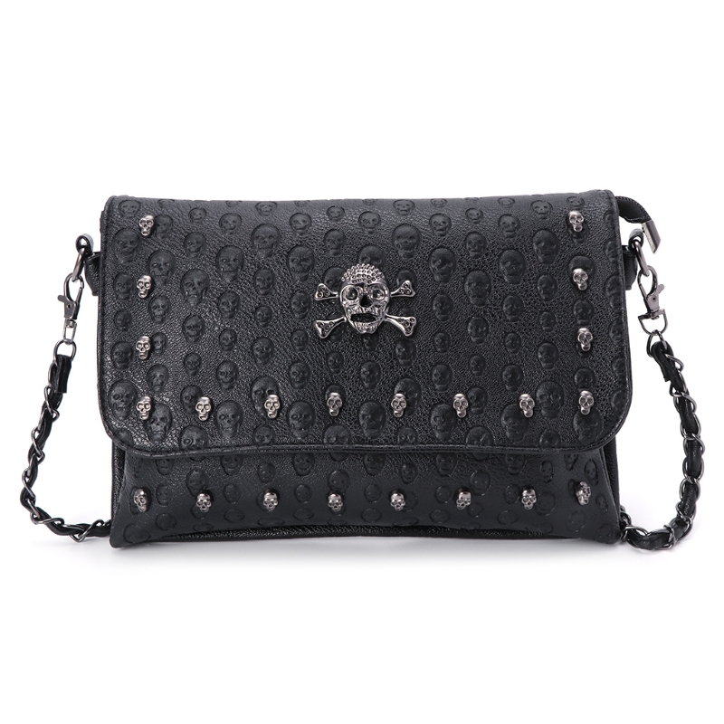 New 2018 Women Handbag Rivet Gothic Skull Bags Chain Messenger Crossbody Shoulder Bag halloween skull printing women crossbody shoulder bag pu leather skull design women messenger bags handbag and purses