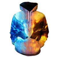 2017 Fantasy Wolves Fight Dark and Light Hoody 3D Print Front Pocket Autumn Sweatshirts Elastic Outerwear Unisex Winter Coat