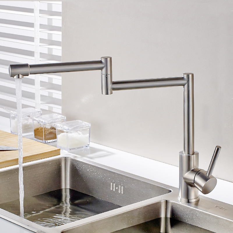 FLG 304 Stainless Steel Kitchen Sink Taps 360 Degree Rotatable Nickel Kitchen Faucet Folding Single Handle Mixer Tap Faucet in Kitchen Faucets from Home Improvement