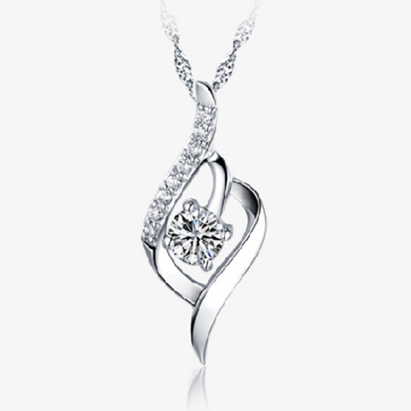 04571198e10b Plata colgante elegante collar de mujer corto párrafo plata joyería para  regalo