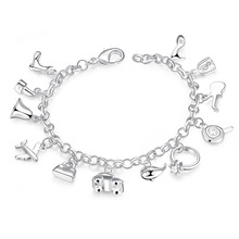 Factory price top quality Silver Plated&Stamped 925 many small cute luckly charms link Bracelet for girls Women wedding  jewerly