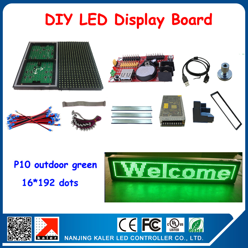 DIY 6Pcs P10 Green Color Led Module + Control Card + Power Supply +Keel +All Cable+ Frame Led Display Screen Outdoor Advertising