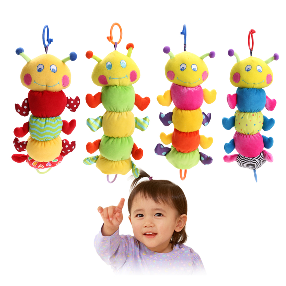 Baby Infants Musical Pull Ring Toy Bed Hanging Soft Plush Doll Toy Hand Grasp Baby Rattle Music Toy Gift