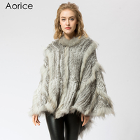 SRR004 1 Real Knitted rabbit & raccoon Fur Shawl poncho stole shrug cape robe tippet wrap women's winter warm coat/outwear