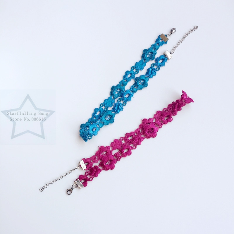 Handmade 1.7CM Blue / Red Rose Chemical Lace & Stainless Steel Jewelry Choker Necklaces image