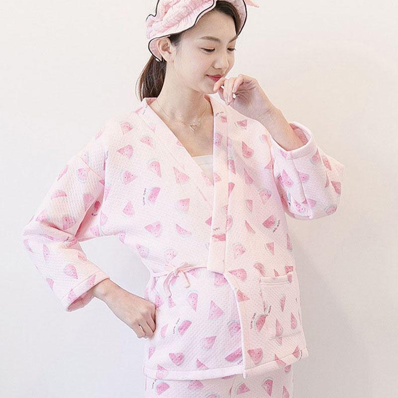 Thick Warm Cotton Long Sleeve Nursing Clothes Winter Nursing Pajamas Pregnant Pyjama Breastfeeding Pregnancy Nightgrown A025
