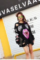 Melinda Style 2016 new women fashion sweatshirt printing pattern bin decorated with hole casual top free shipping