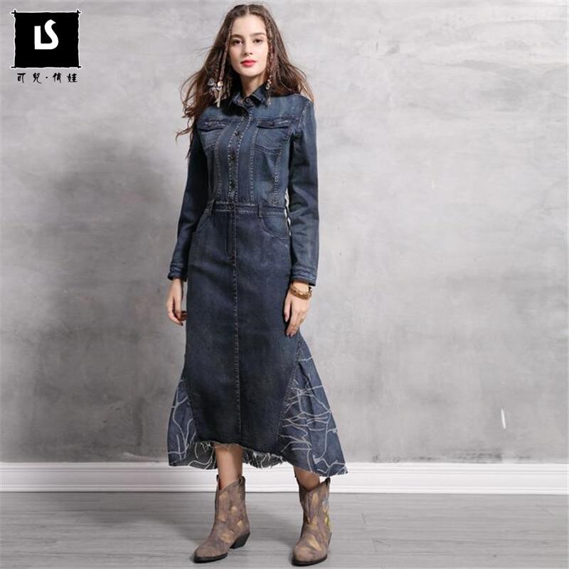 Irrégulière Collar Qualité Blue Sirène Denim Taille down Vintage Turn Nous Patchwork Longues Robes Europe Plus Femmes La Haute 81ATvqA