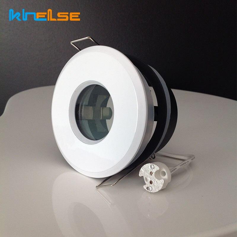 White Spot Light Shower Recessed Light Kit Downlight Frame Bathroom IP65 Round Fitting GU10 MR16 Base Built-in LED Ceiling Light