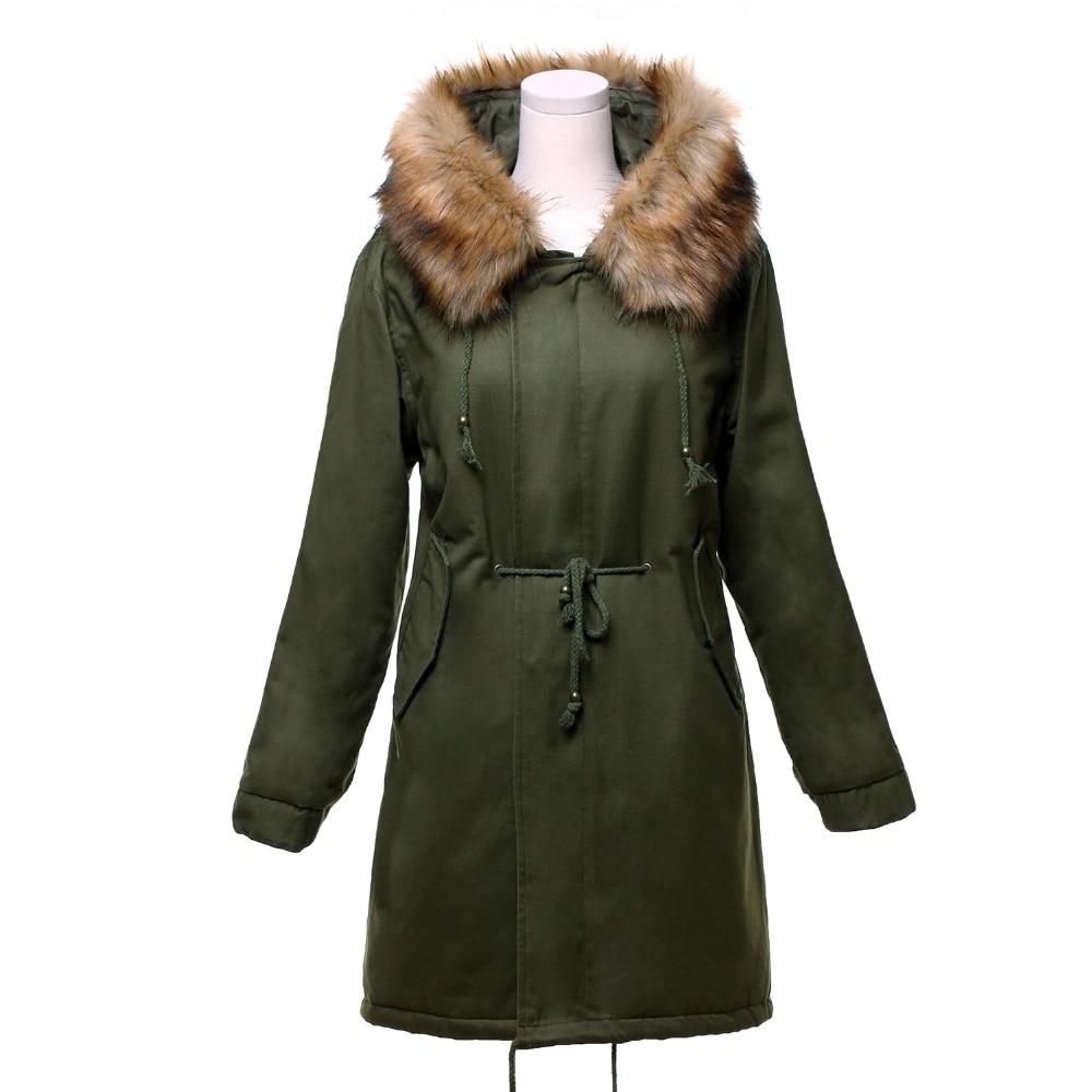 Long Col Épaissir Outwear red Hiver Style Femmes Manteaux Manteau Parkas Faux Botton Coton Black army Fourrure Kenancy Zipper Chaud Veste Green RI0Xqw