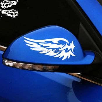 2 x New Style Rear View Mirror Car Stickers Funny Wing of the Angel Car Decal for Tesla Ford Chevrolet Honda Toyota Lada image