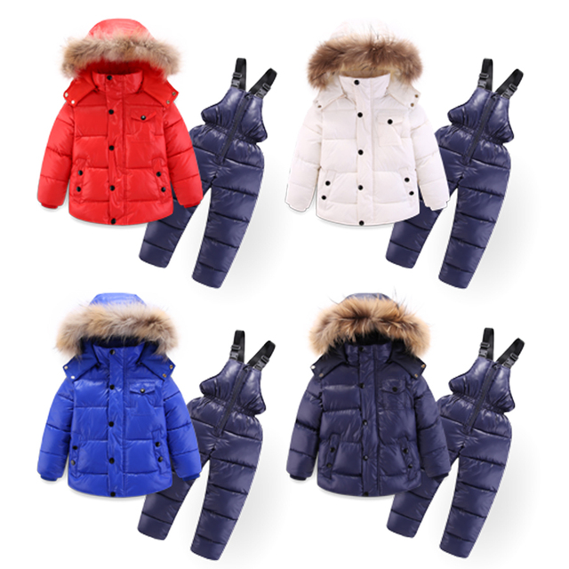 Best Offers IYEAL Winter Children Clothing Set for Boy Down Cotton Parkas Jacket Coat +Overalls Warm Windproof Snowsuit Toddler Kid Ski Suit