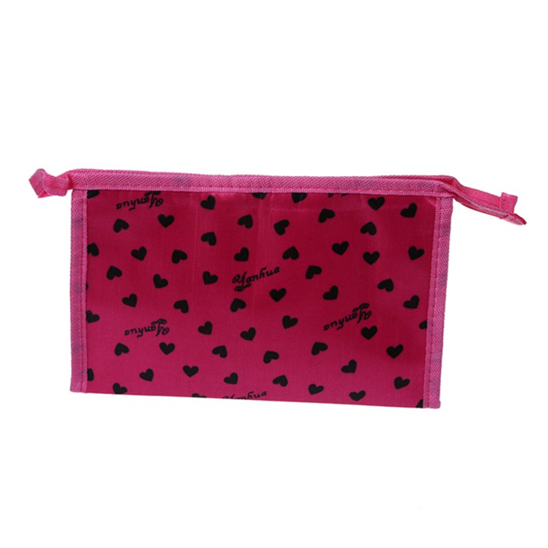 Superior Quality Multi Heart Pattern Cute Cosmetic Bag Pink