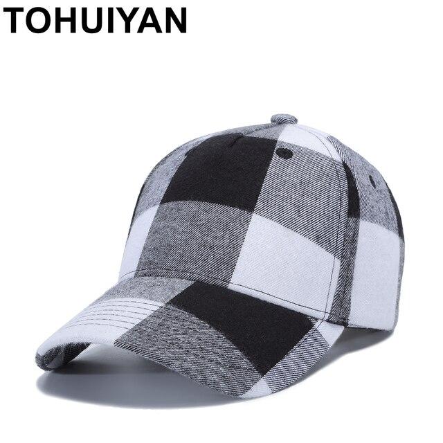 2183f877 TOHUIYAN Men Women Plaid Cotton Baseball Cap Casual Strapback Golf Hat  Summer Autumn Adjustable Snapback Caps