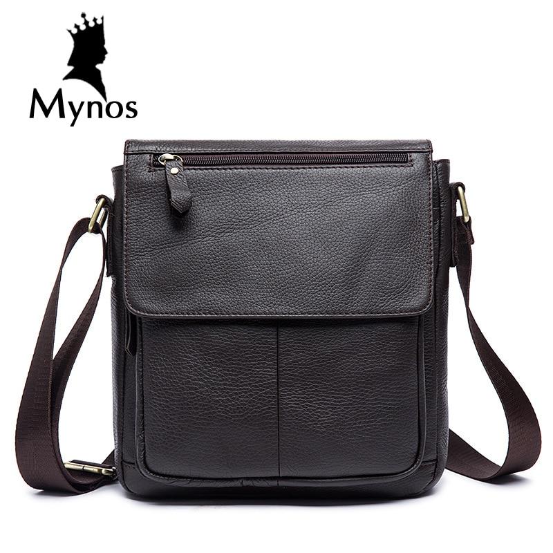ФОТО MYNOS 100% Cow Leather Men Bag Brand Designer Handbags Shoulder Vintage Retro Crossbody Bags For Men Messenger Bags Male Bags