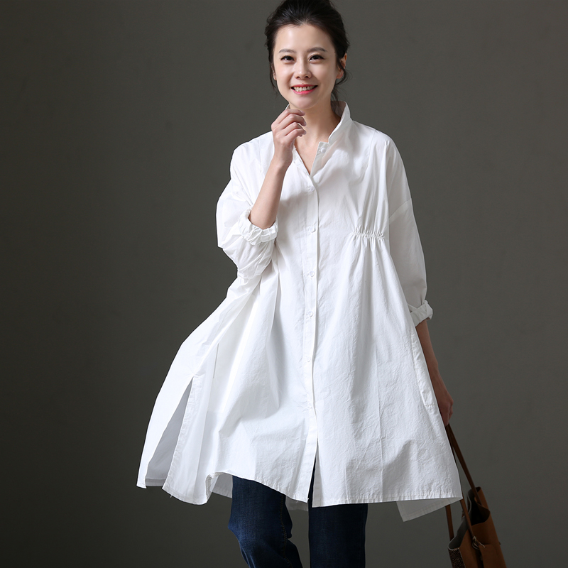C1110 Loose Pure Cotton Seven-point Sleeve Shir