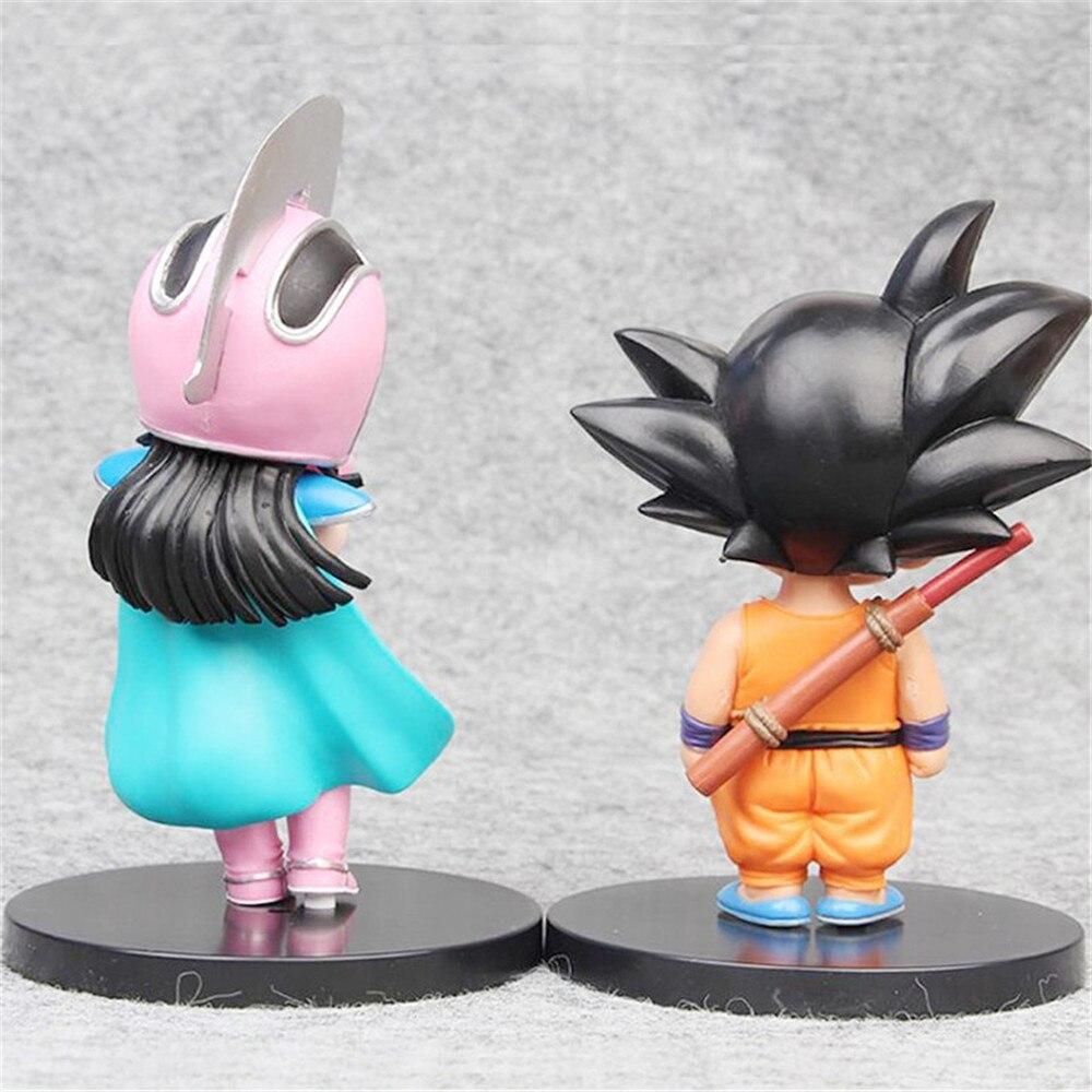 FMRXK 14-17cm 2Pcs/set Dragon Ball Z Figure Children Son Goku Chichi PVC Action Figure Anime Collection Model Toys Dolls