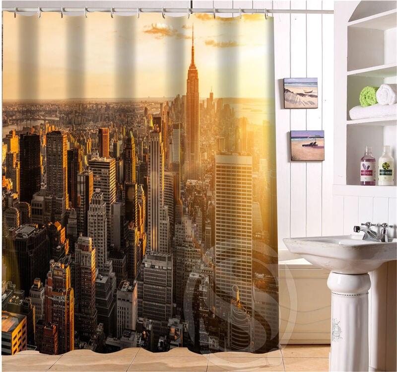 Custom Waterproof Fabric Bath Curtain New York City Shower For Bathroom Free Shipping SQ0623 Hh7