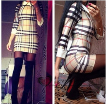 2017 newest Spring autumn hot sales fashion casual women Popular double-layer Wide striped plaid long-sleeved Package hip dress
