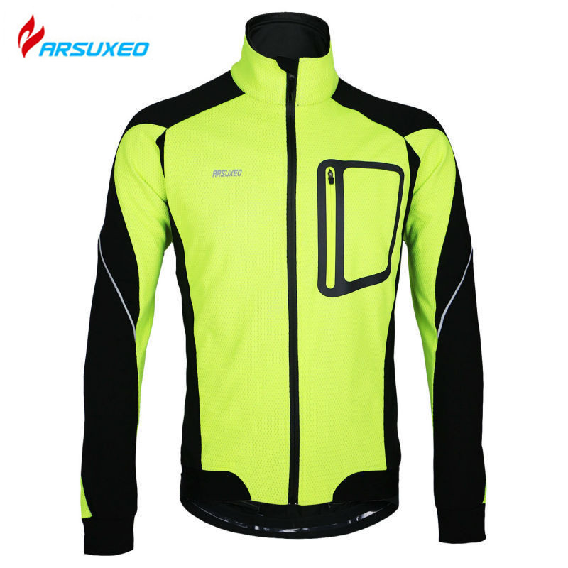 цена ARSUXEO Winter Thermal Fleece Windproof Waterproof Long Sleeve Cycling Jersey Clothing Wear Reflective Cycling Sports Jacket онлайн в 2017 году