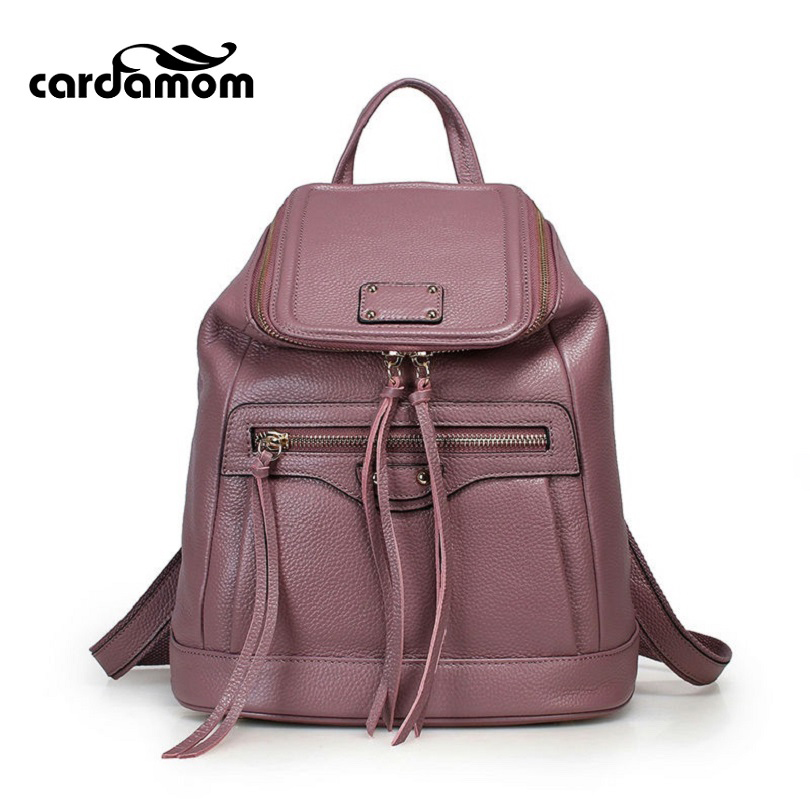 Cardamom Genuine Leather Backpacks Cow Leather Famous Brand Women's Bags Girls Fashion Bag Travel Bags Students' Backpack