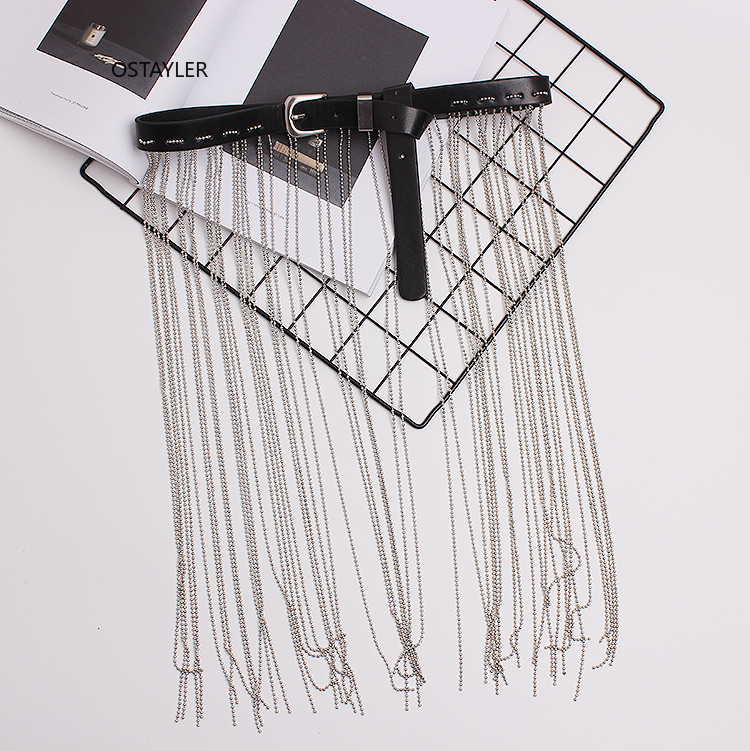 2019 Newest Silver Alloy Bead Fringe Waist Belt Wide Fringe PU Leather Buckle Jean Belts Dress Corset Waistband Decoration