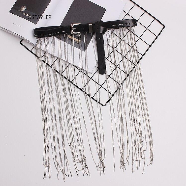 2019 Newest Silver Alloy Bead Fringe Waist Belt Wide Fringe PU Leather Buckle Jean Belts Dress Corset Waistband Decoration