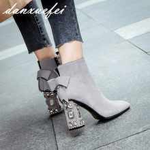 Women s Genuine Suede Leather Rhinestones Heel Autumn Ankle Boots Brand  Designer Square Toe Sweet Boties Short Booties Shoes Hot 592472ae92dd