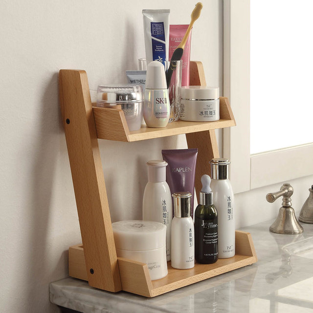 Bathroom Wooden Storage Shelves Cosmetics Shelf Multi Storey Household  Products European Handmade Beech Wood Table Organizer