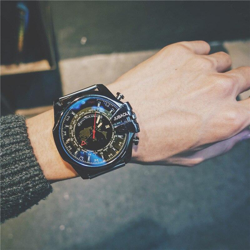 Super Big Dial Man Dress Quartz Watches Full Stainless Steel Calendar Men Sports Wristwatch Male Military Watch Army Clock Hours