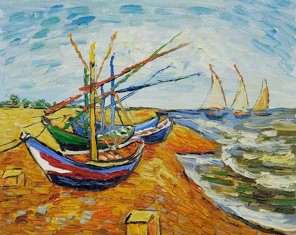 Buy 100 handmade seascape canvas art oil for Van gogh paintings locations