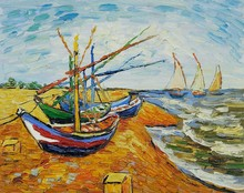 Boats At St. Marie's by Vincent Van Gogh Handpainted