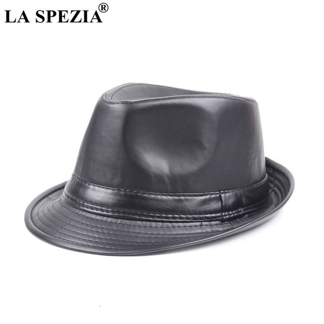 cde72b8b1be LA SPEZIA Faux Leather Fedora Hat Men Black Casual Jazz Caps Winter Vintage  Felt Trilby Hat