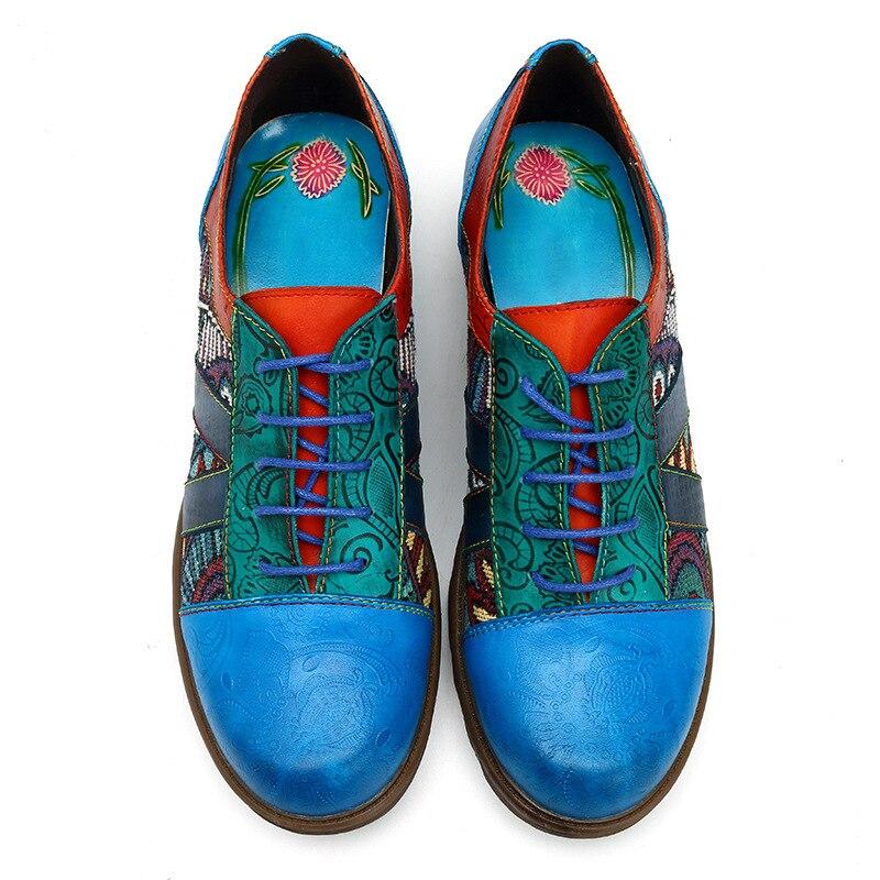 Ayakk.'ten Kadın Topuksuz Ayakkabı'de MStacchi Yeni Sonbahar Bahar Bayan tek ayakkabı Kadın Retro Bohemian Daireler Ayakkabı Hakiki Deri dantel up Oxford Vintage Rahat'da  Grup 2