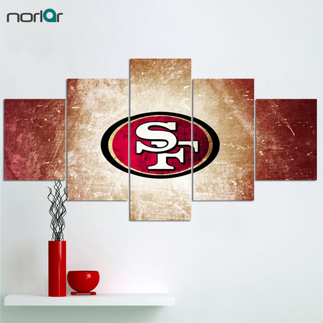5 Pieces Wall Art Hd Printed San Francisco 49ers Sports Team Fans Canvas Paintings Modern Home