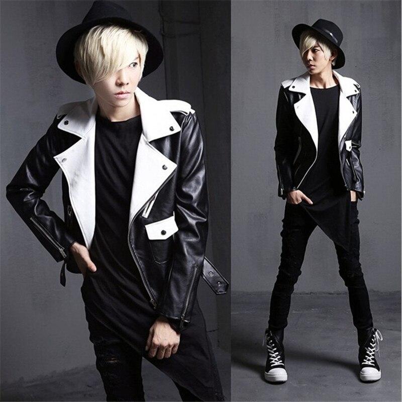2017 Nuovo Modo Di Arrivo Mens Punk Gotico Di Cuoio Motor Jacket Uomo Slim Fit Cappotto Corto Outwear Nero/bianco Biker Giacche