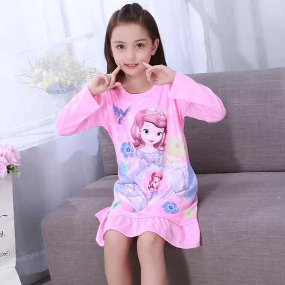 8c570102145f ... Spring   Autumn Big girls Nightgown Pajamas kids long sleeved  nightdress cute cartoon child female baby