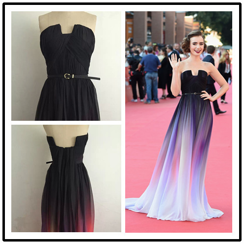 0c2aa9145c5 2015 Lily Collins Dress A Line Square Collar Pleated Gradient Chiffon  Elegant Long Evening Dresses Evening Gown Prom Dress Gowns
