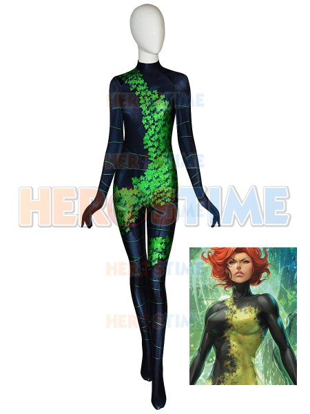 New 52 Poison Ivy Cosplay Costume High Quality 3D Printed Spandex Halloween Suit