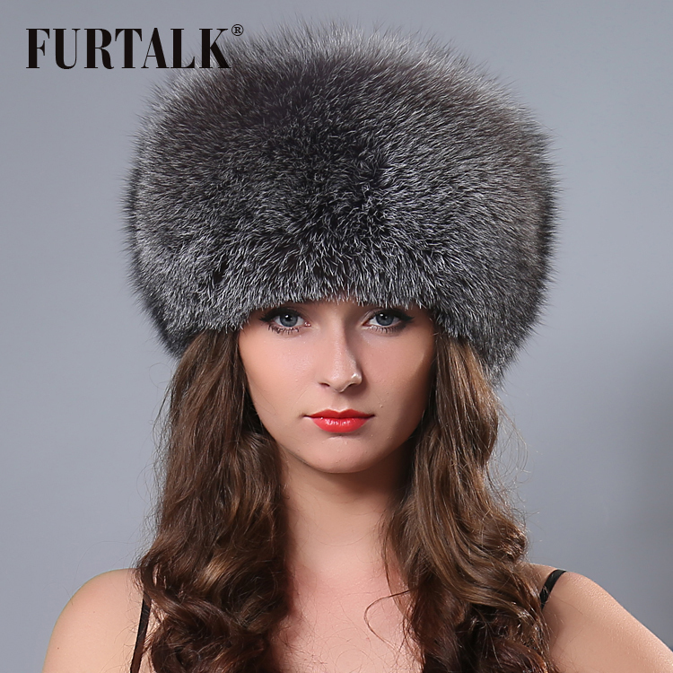 FURTALK HOT princess High Quality real fox fur hat Russian women winter warm cap best gift