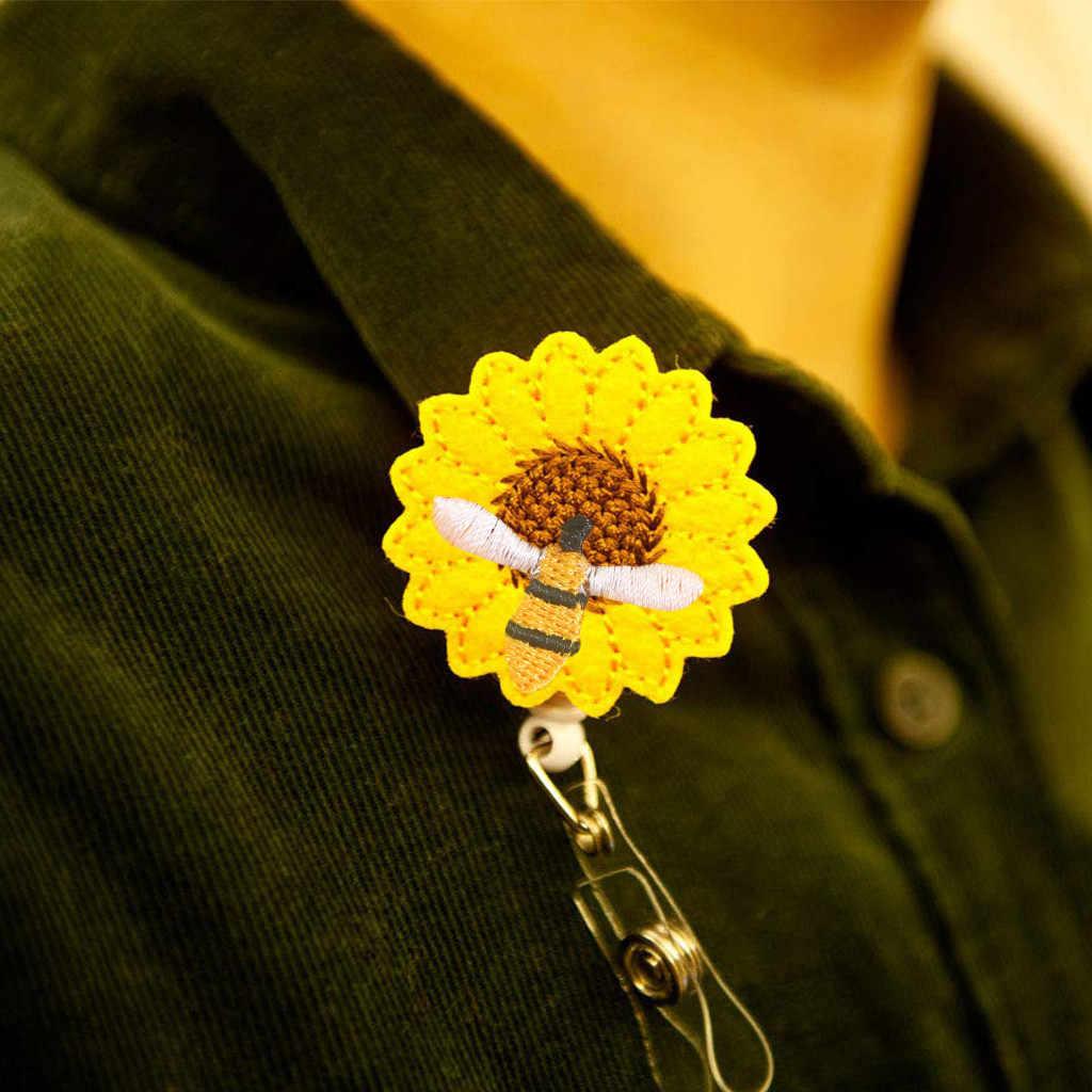 Novo Design Retrátil Carretel Crachá Enfermeira Clipe Girassol Dos Desenhos Animados Estudantes IC Telescópica Retrátil ID Card Badge Holder Clip @ 3
