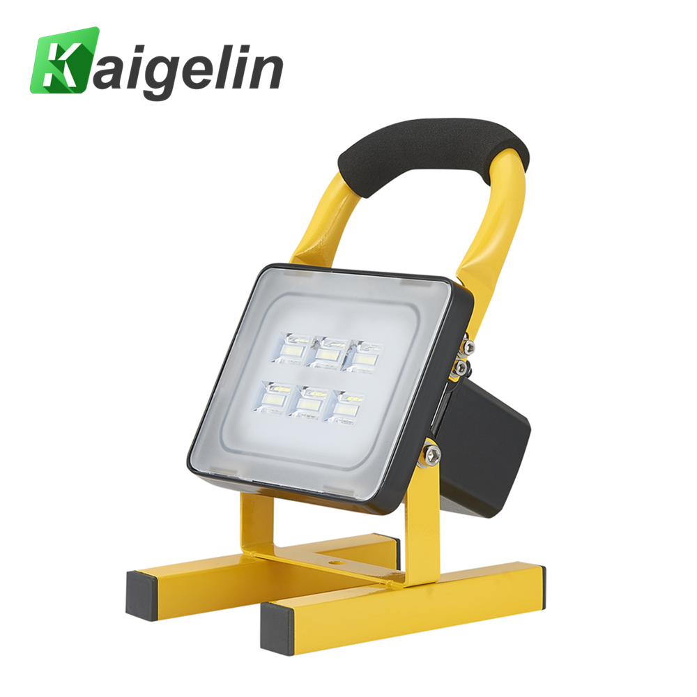Kaigelin Rechargable Flood Light 20W 12V Outdoor Lighting Portable LED Floodlight Connected To Car Or 220V Home AC 1800LM Lamp ultrathin led flood light 200w ac85 265v waterproof ip65 floodlight spotlight outdoor lighting free shipping