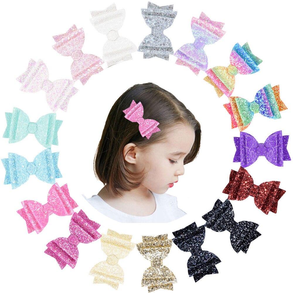 3 5 Rainbow Color Glitter Hair Bows with Clip Hairpin Girls Princess Hair Clip Bowknot Clip