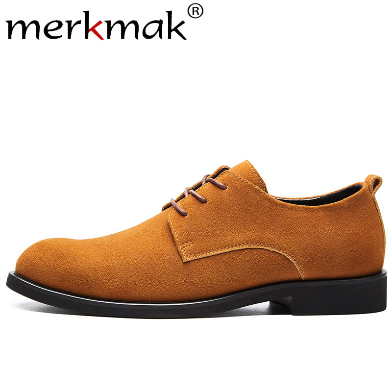 Merkmak New Genuine Leather Shoes Men Spring Autumn Casual Fashion Elegant Men Shoes Outdoor Party Oxfords Shoes Big Size38-47