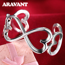 hot deal buy high quality 925 silver jewelry open cuff bracelets double heart bangle&bracelet luxury jewelry for women wedding jewelry gifts