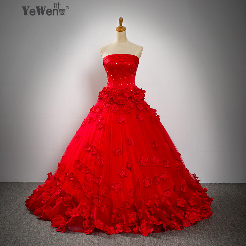 Romantic floor length custom flower beaded white red blue for White vintage wedding dresses