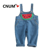 CNUM Unisex Suspender Trousers Toddler Girls Cartoon Overalls Long Cotton Pants for Baby Girls and Boys 2019 High Waist Pants
