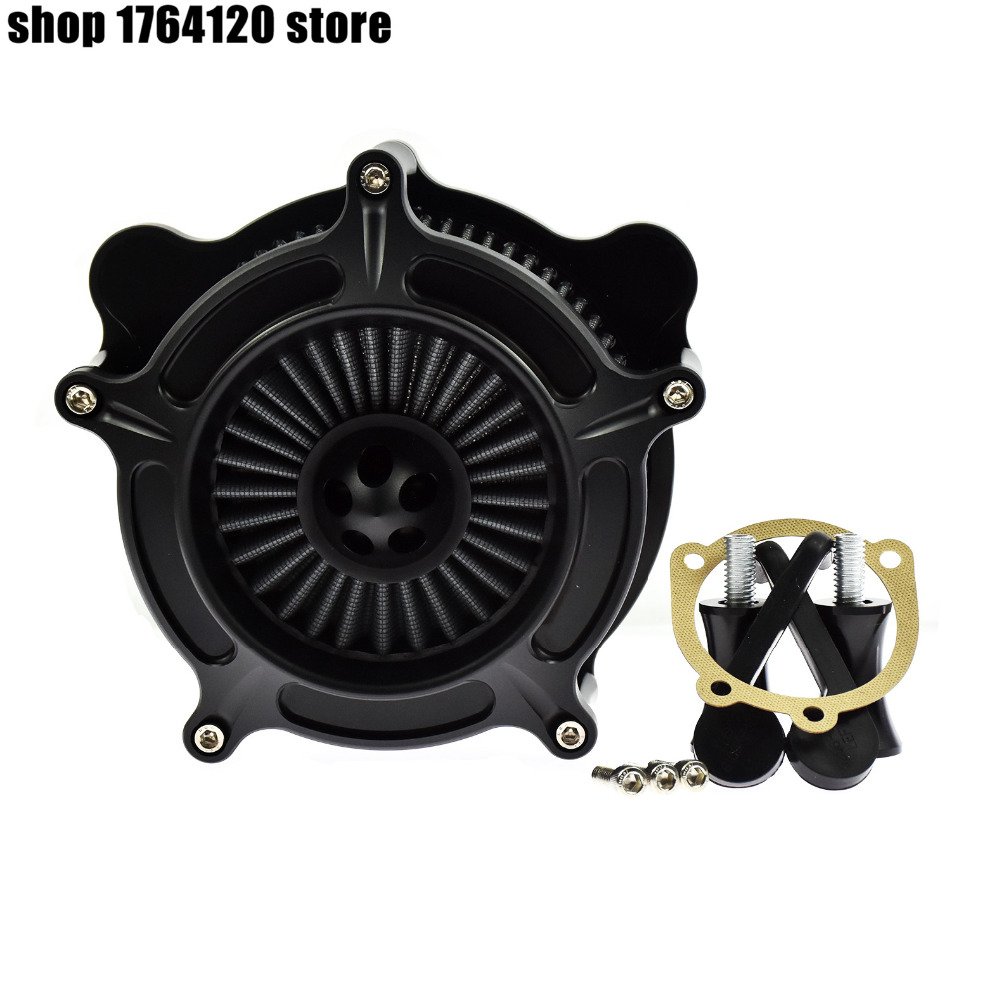 Motorcycle Gray Turbine Air Cleaner Intake Air Filter Kit Aluminum For Harley Softail Touring Dyna Wide