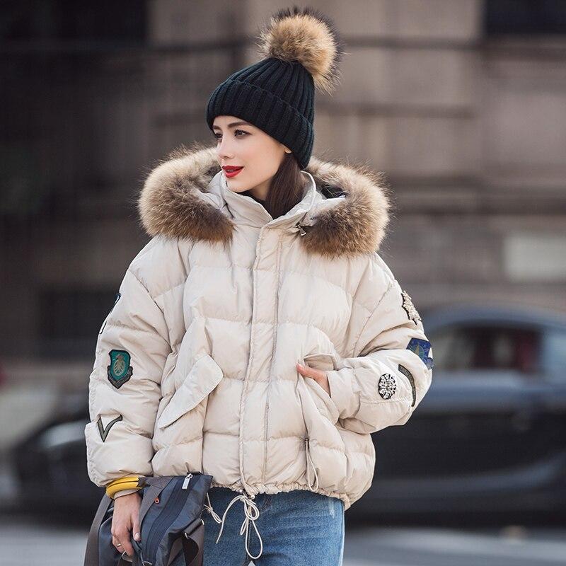 Outwear E54 Grand Parkas 2018 Manteaux Col Nouvelles Beige De Capuchon Vestes Vers Courtes D'hiver Coréenne camel Fourrure Le Lâche Femmes Manteau Européenne Dames À Bas BRP6xx